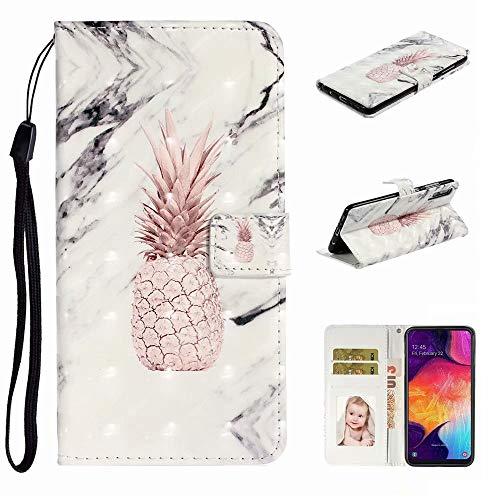 Nadoli Verkörpern 3D Bewirken Cool Marmor Ananas Entwurf Pu Leder Ständer Karte Halter Magnetisch Lanyard Brieftasche Flip Hülle Tasche für Samsung Galaxy A70