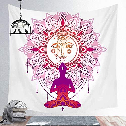 Sol Luna India Mandala colgante de pared Tarot tapiz psicodélico Tapiz brujería tela de pared tela de fondo A7 130x150cm