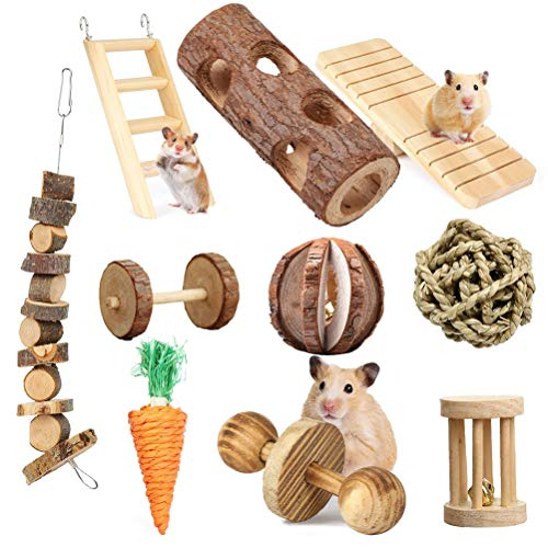 Vankcp 10Pcs Hamster Chew Toys Natural Wooden Pet Chew Toys Pets Teeth Care Molar Ball for Small Animals Cat Rabbits Rat Guinea Pig