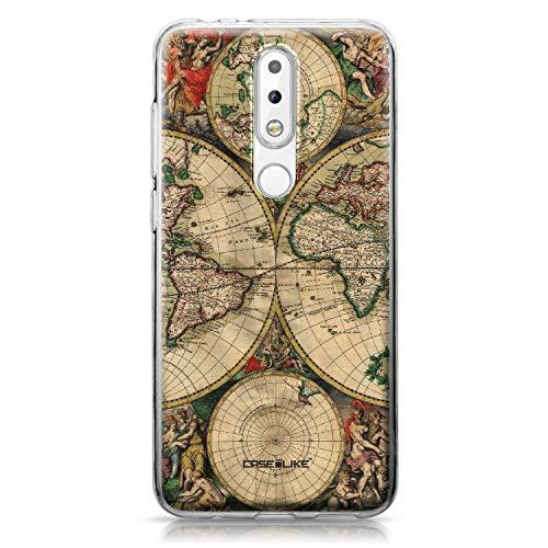 CASEiLIKE® Custodia Nokia 5.1 Plus Cover, Mappa del Mondo Vintage 4607 Disegno Ultra Sottile Paraurti TPU Caso Silicone per Nokia 5.1 Plus
