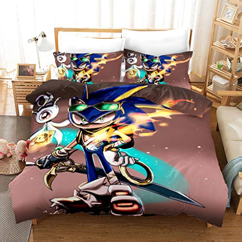 Conjunto De Ropa De Cama De 3 Piezas, Sonic The Hedgehog Cubierta De Edredón 100% 100% Microfibra con 2 Almohadas, Cubierta De Edredón Suave, Cómoda Y Transpirable,180 * 210cm