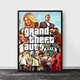 WDQFANGYI GTA 5 Póster Lienzo Arte De Pared Grand Theft Auto V Juego Papel Tapiz Impresiones Bar Pegatinas Mural Decoración De Dormitorio 50X70 Cm (Sh-3172)