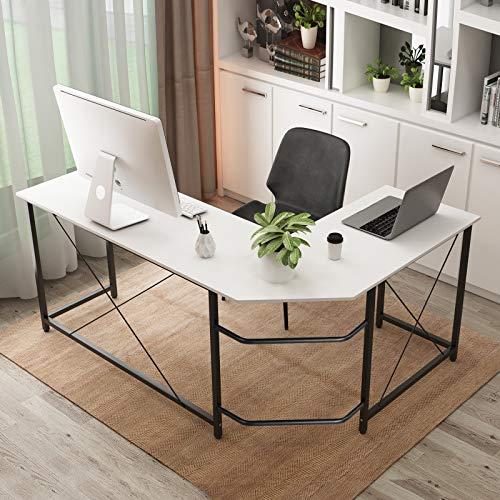 soges Escritorio en Forma de L Escritorio para computadora Escritorio de Esquina Grande Mesa de Oficina Estación de Trabajo para computadora para el hogar y la Oficina, HD-SFZJ02W