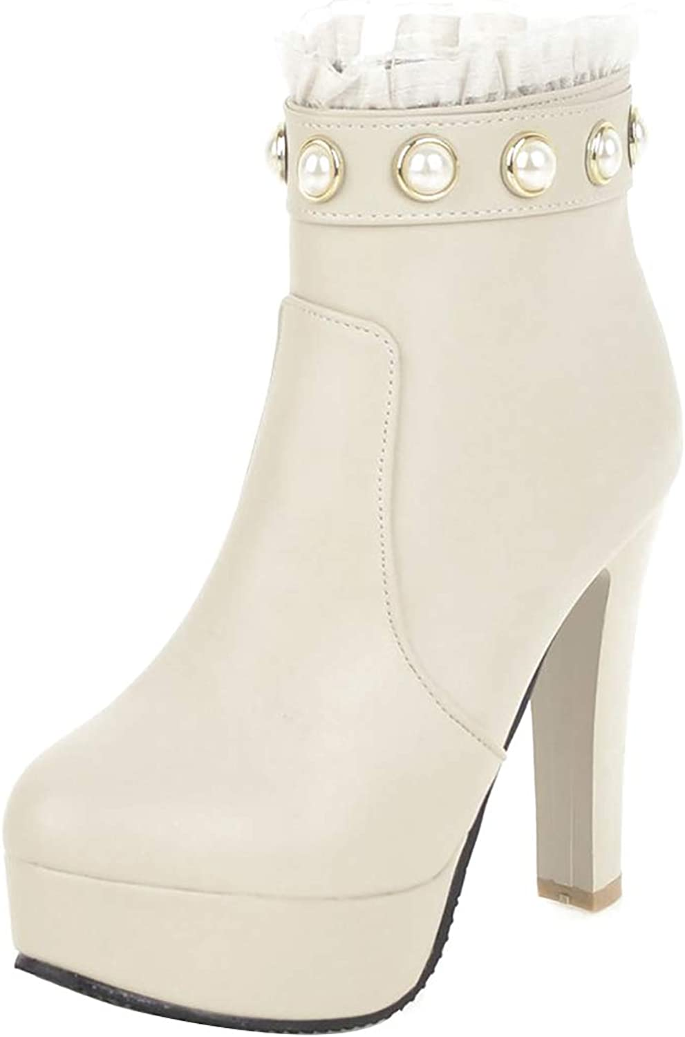 Jushee Womens Juknock 11.5 cm high-Heel Ankle Zipper Synthetic Boots