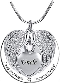 TGLS Cremation Jewelry Heart Urn Necklace for Human Ashes Dad Mom Grandma Stainless Steel Angel Wing Keepsake Memorial Pen...