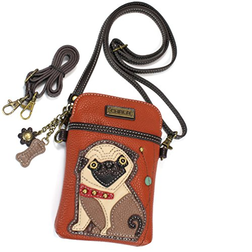 Chala Crossbody Cell Phone Purse - Women PU Leather Multicolor Handbag with Adjustable Strap - Pug - Orange