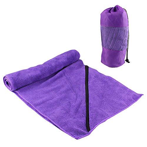 Ponacat Toalla de Secado Rápido Toalla de Playa de Microfibra con Bolsillo con Cremallera para Baño de Piscina Yoga Camping Natación Correr