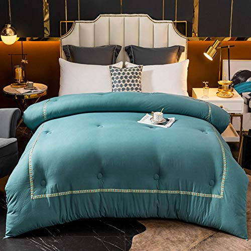 CHOU DAN Deep Sleep Duvet,Luxurious & Down Quilt, 15% Down King Size Bed Duvet, 100% Cotton Shell, Anti-Dust Mite & Feather-Proof Fabric Anti-Allergen-150x200cm 2500g_navy Blue