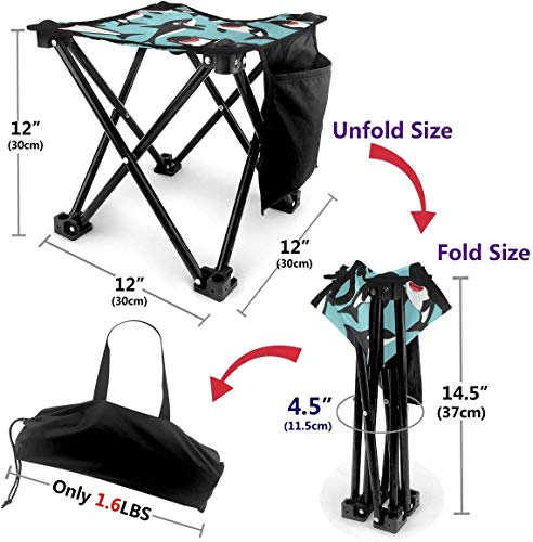 LLOOP Camping Stool Folding Big Eye Killer Whale Portable Chair Camping Hunting Fishing Travel with Carry Bag