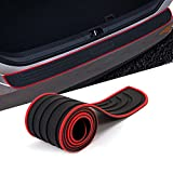 HOCHESLO Rear Bumper Protector Guard for Car, Universal Rubber Scratch-Resistant Trunk Door Entry Guards, Trunk Protection Strip with 3M Tape, 35.43 x 2.95inch, Red Border+Black Sports Logo