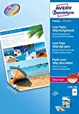 Avery España 1398-200 - Pack de 200 folios de papel fotográfico para impresoras láser, 210 x 297 mm, color blanco