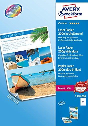 AVERY Zweckform 1398-200 Premium Colour Laser Papier (A4, beidseitig beschichtet, hochglänzend, 200 g/m², 200 Blatt)