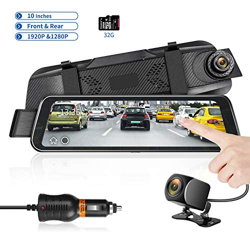 Mirror Dash Cam 9.66' HD Backup Camera, Dash Cam Front and...