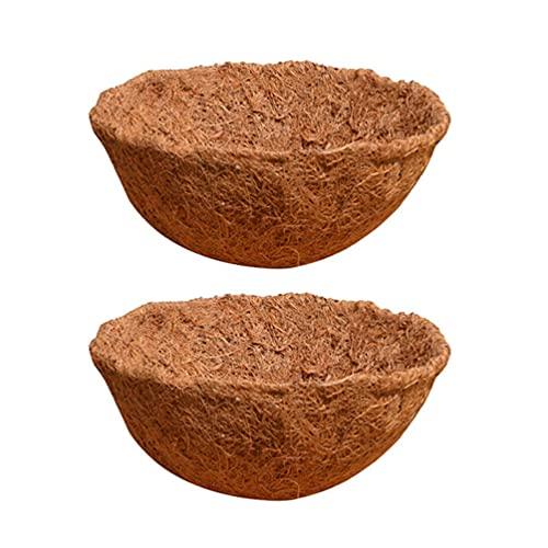 Cabilock 2 Piezas 30Cm Forros de Coco Medio Redondo Forros de Coco de Fibra de Coco de Revestimiento de Repuesto Planta Canasta Matfor Cesta Colgante Cesta Jardín Flor Verduras Olla
