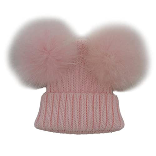 f14c817f061 Funoc Beanie Hat Faux Fur Pom Poms Warm Winter Hat Knit Hat for Baby Kids  Girls