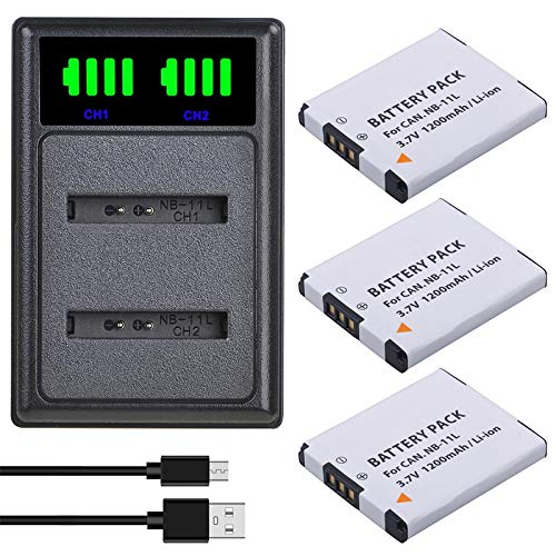 Grehod 3.7V 1200mAh NB-11L NB 11L NB-11LH Batería y Cargador USB LED para Canon PowerShot A2400 A2500 A2600 A3400 A3500 A4000 IS 3Battery1Charger