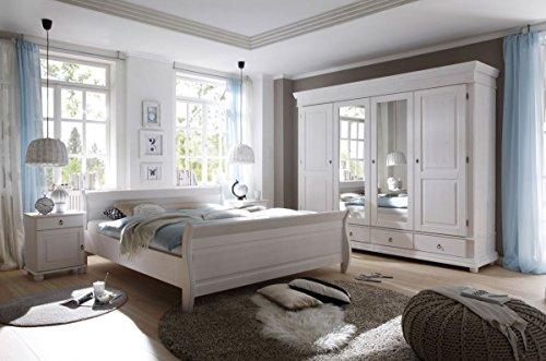 Schlafzimmer Landhaussstil Kiefer weiß gewachst 4-tlg. 180x200
