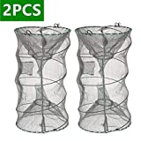 ieasky Fishing Bait Trap,2 PCS Crab Trap Minnow Trap Crawfish Trap Lobster Shrimp Collapsible Cast Net Fishing Nets Portable Folded Fishing Accessories,12.6X20.1inches