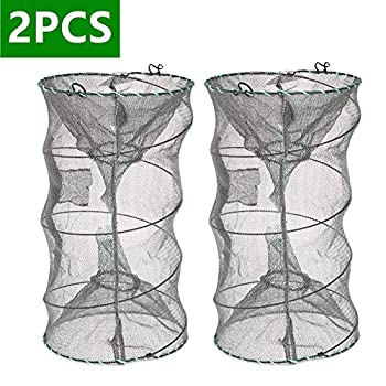ieasky Fishing Bait Trap,2 Packs Crab Trap Minnow Trap Crawfish Trap Lobster Shrimp Collapsible Cast Net Fishing Nets Portable Folded Fishing Accessories,12.6X20.1inches