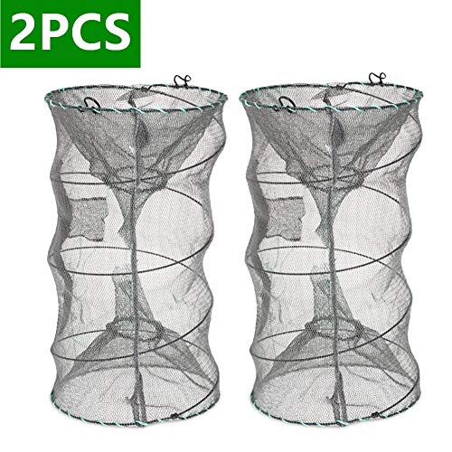 ieasky Fishing Bait Trap,2 PCS Crab Trap Minnow Trap Crawfish Trap Lobster Shrimp Collapsible Cast...