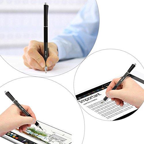 ELZO 3 in 1 Kapazitive Eingabestift Disc Stylus Gel Stift Touchstift 2 Stück mit 4 auswechselbare Disc-Spitzen und 2 auswechselbare Nanofiber Tipps für Touchscreen Tablet und Mehr (Schwarz & Silber)