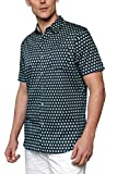 Woody's Retro Lounge Men's Casual Slim Fit Short-Sleeve Shirt/Men's Essential Casual Shirts (Blue/Green, XX-Large)