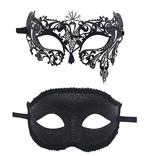JUNSHUO Máscara de Pareja, Luck Mascarada Carnaval, Máscara de Encaje Negra Máscara de Veneciano Fiesta Fiesta de Baile para Hombres Mujer