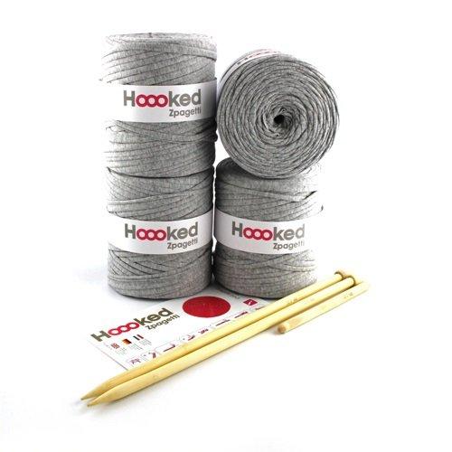 Hoooked Zpagetti DIY Häkel & Strick Set Sitzkissen Pouf (Sporty Grey (hellgrau))