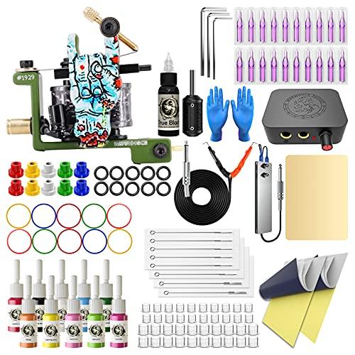 Wormhole Tattoo Kit for Beginners Tattoo Power Supply Kit 10 Tattoo Inks Complete Tattoo Gun Kit Tattoo Machine Kit Tattoo Supplies TK096