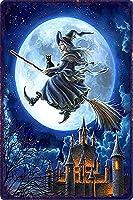 装飾クラシック映画メタルポスターメタルハロウィーンの魔女黒猫 バーパブクラブ男の洞窟ヴィンテージ鉄絵画装飾のためのブリキ看板壁の装飾