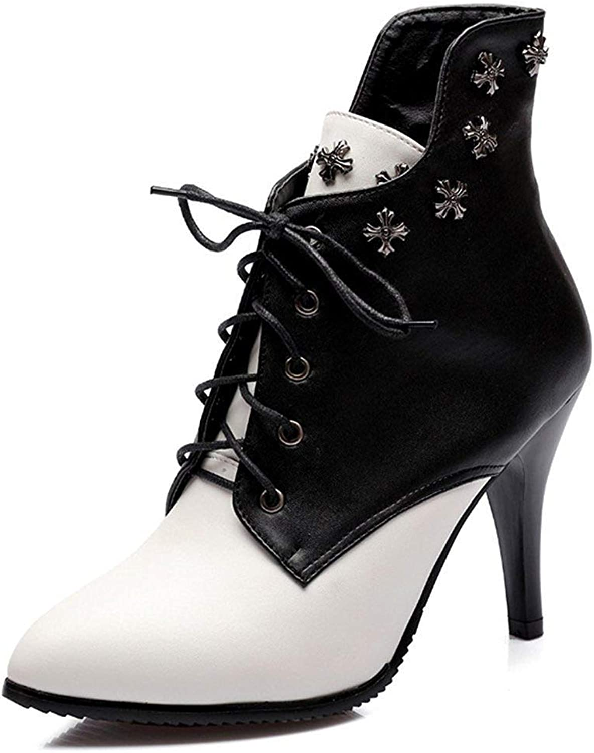 Unm Women's Studded Pointed Toe Short Boots - High Heel Ankle Booties - Sexy Lace up Stilettos