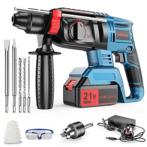 Undreem 21V Rotary Hammer Drill,3-in-1 Mode Brushless Impact Drill,Demolition Hammer Kit with 4.0Ah Batterie,Vibration Damping Technology,Variable Speed,360 Degree Rotatable Side Handle【Blue】