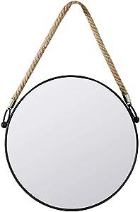 JI Bin Shop® Rétro Noir Cadre en Métal Verre Salle De Bain Miroir Suspendu Miroir Corde Miroir De Courtoisie Et Miroir Grossissant Rond Miroir Mural Décoratif ++