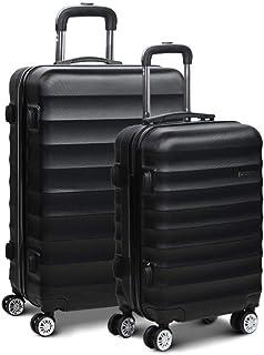 Wanderlite Luggage Set Hardshell Spinner Suitcase TSA Lock Trolley Lightweight Suitcase Organizer Sets with Scale-Black
