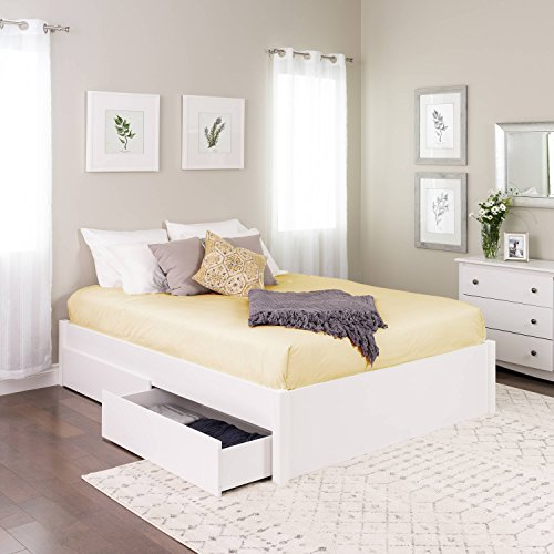 Queen Select 4-Post Platform Bed with 4 Drawers, White