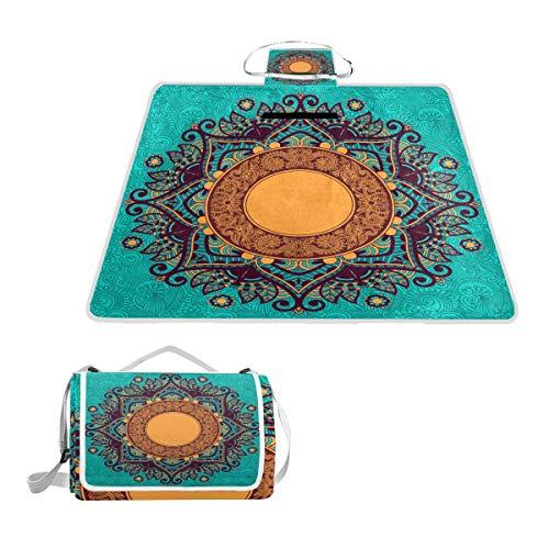 TIZORAX Hippie Henna Floral Picknickdecke Wasserdicht Outdoor Decke Faltbare Picknick Handliche Matte Tragetasche für Strand Camping Wandern