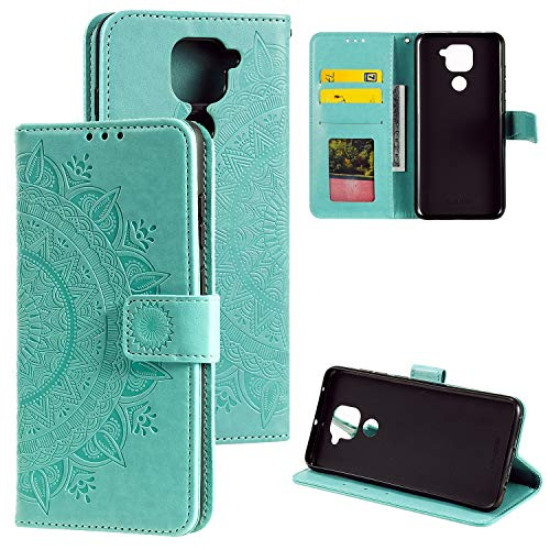 HTDELEC Xiaomi Redmi Note 9 Hülle,Ultra Slim Flip Hülle Grün Etui mit Kartensteckplatz & Magnetverschluss Leder Wallet Klapphülle Book Hülle Bumper Tasche für Xiaomi Redmi Note 9(T-Grün)