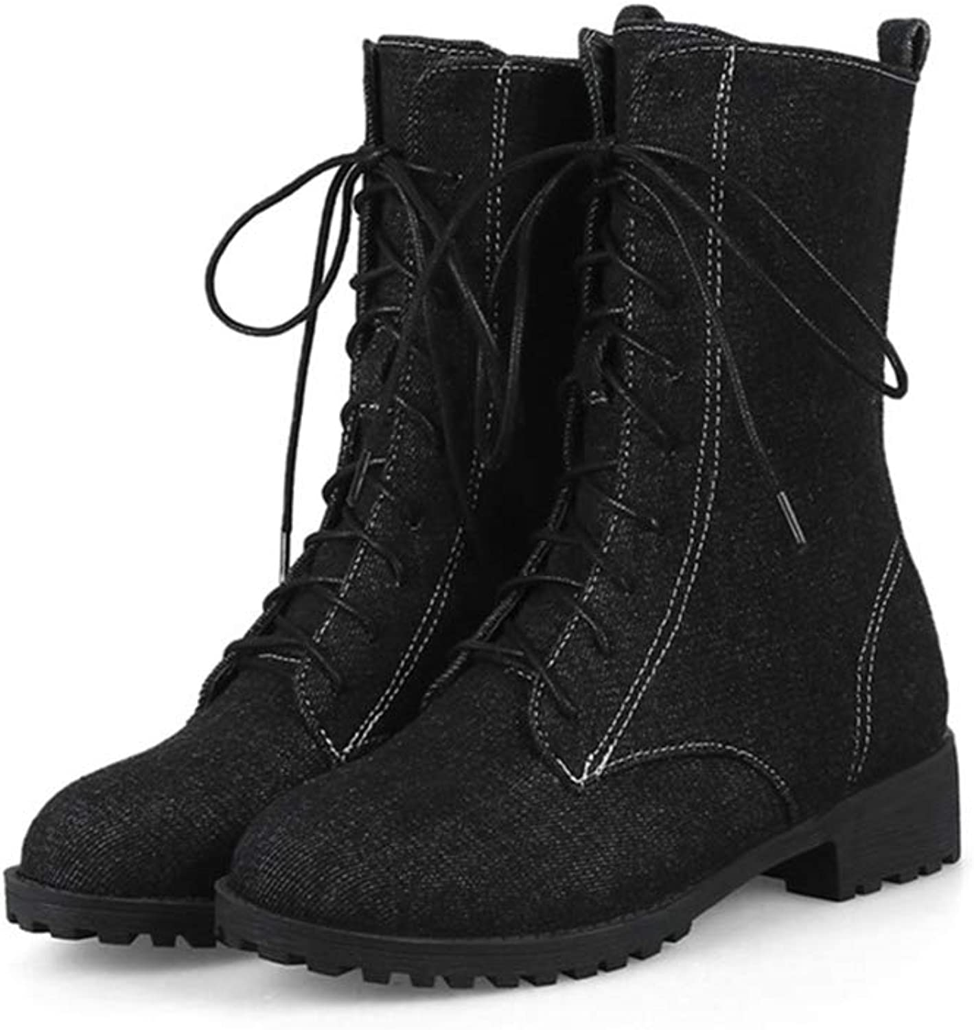 Womens Wedge Platform Mid Calf Boots Denim Material Lace Up Rubber Sole Short Plush Winter Martin shoes