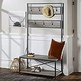 Walker Edison Furniture Company AZT72MWGW Farmhouse Entry Bench Mudroom Hall Tree Storage Shelf Coat Rack, 72 Inch, Grey Wash