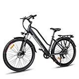 Macwheel 700C Electric Bike, Rear Hub Brushless 36V 350W, Removable 360Wh 36V/10Ah Lithium Battery, Shimano 7-Speed, Suspension Fork, Trekking Electric Bike Black