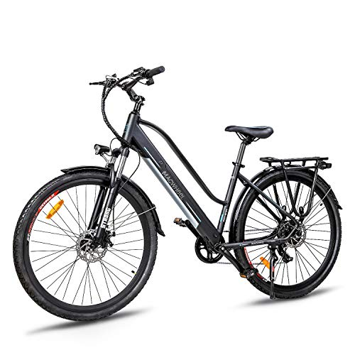 Macwheel 700C Electric Bike, Rear Hub Brushless 36V 350W, Removable 360Wh 36V/10Ah Lithium Battery, Shimano 7-Speed, Suspension Fork, Trekking Electric Bike Black