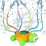 JOYUE Wassersprinkler für Kinder, Sprinkler für Kinder, Schildkröte Wassersprühspielzeug mit 6 Schlauch, Rotations Wasser Sprinkler Spielzeug, Wasserspielzeug für Garten Rasen Outdoor