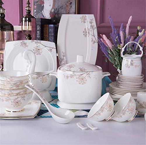 AILEYOU Menaje de Cocina Vajillas Juegos de Cerámica Servicio Combinado Platos Cubiertos Cubiertos Plato Plato Porcelana Inicio Regalo