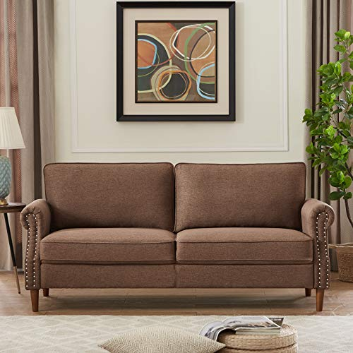 Sofa with Solid Wood and Durable Modern Linen Fabric, 3-P Seater Sofa Couch for Small Spaces &Cushions and Armrests (Brown)