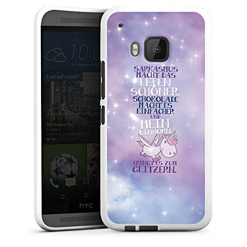 DeinDesign Silikon Hülle kompatibel mit HTC One M9 Case weiß Handyhülle Einhorn Sprüche Glitzer Look