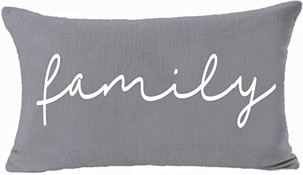 Andreannie Home Family Cotton Linen Lumbar Throw Pillow Cover Cushion Case Decorative Sofa Room 12x20 Inches Both Sides Same Color Gray