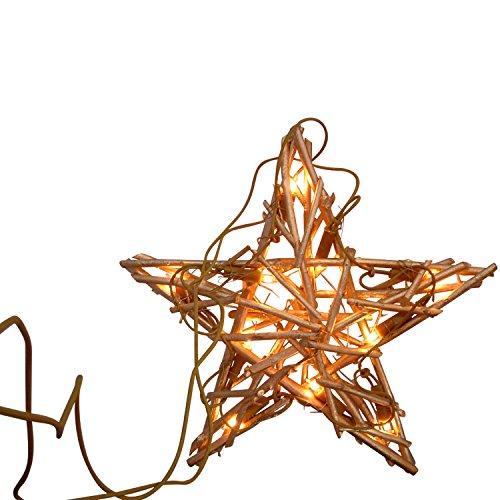 Dekorativer Rattanstern 30cm mit 10 LED, für Innen, Farbe: Gold-braun