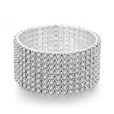 "Long Way Women's Silver/Gold Plated Crystal Bracelets 6.7""+2.4"" (282)"