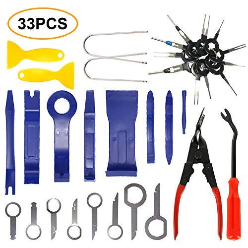 Manelord 33pcs Demontage Werkzeug Innenraum Verkleidung, Hebelwerkzeug Auto Zierleistenkeile Set, Türverkleidung Entferner Werkzeug zum Beschneiden von Fahrzeug Audio/Radio, Türverkleidung, Fenster