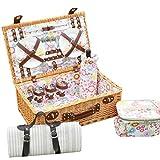 Willow Picknickkorb-Set für 4 Personen mit Weingläser Keramikplatten Besteck und Servietten Geburtstag Hochzeit Jubiläum 55 * 35 * 20 cm
